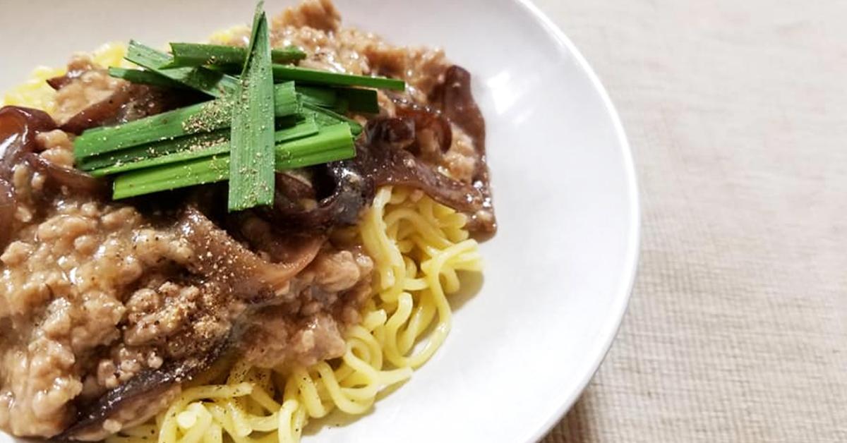 きくらげとひき肉の和え麺